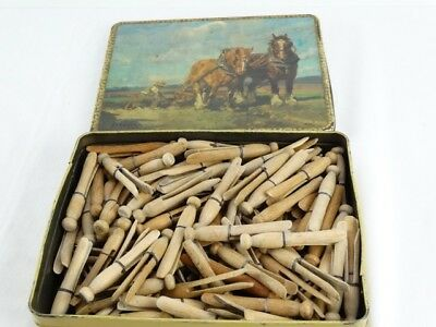 Vintage Arnotts Biscuit Tin H S Power With Bulk lot of Wooden Dolly Clothes Pegs
