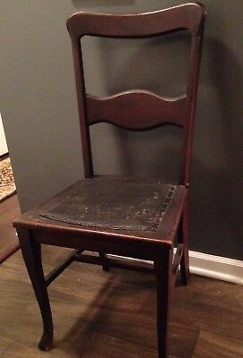 Antique Vintage Accent Wood Chair Nailed Leather Seat