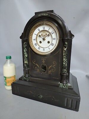 A Large Black Slate French Gong Strike Mantle Clock With Visible Escapement 1880