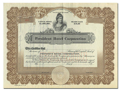 President Hotel Corporation Stock Certificate