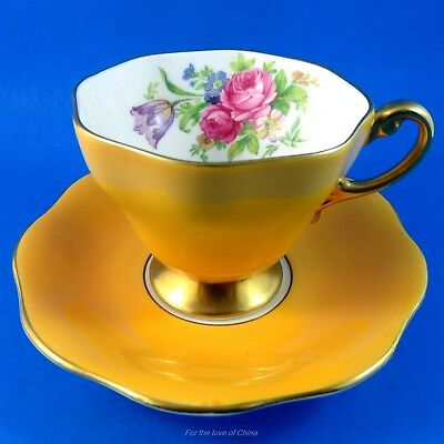 Striking Yolk Yellow with Floral Tapered Foley Tea Cup and Saucer Set