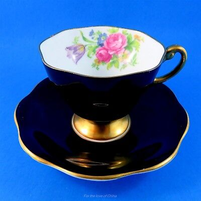 Striking Black with Florals Tapered Foley Tea Cup and Saucer Set