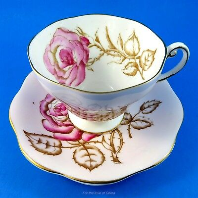 Handpainted Pink Rose on Pale Pink Foley Tea Cup and Saucer Set