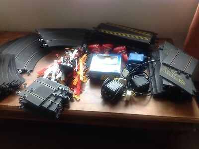 Scalextric Bundle Some Old 56 Bits Of Track,3 Power Units 6 Controllers 2 Cars