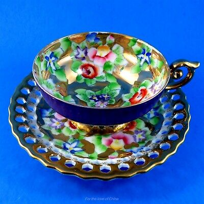 Ohashi China Flowers on Heavy Gold Reticulated & Hand Painted Japan Cup & Saucer