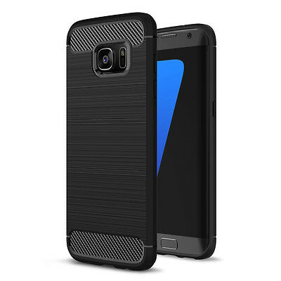 Carbon Fibre Brushed TPU Case for Samsung Galaxy S7 edge SM-G935 - Black