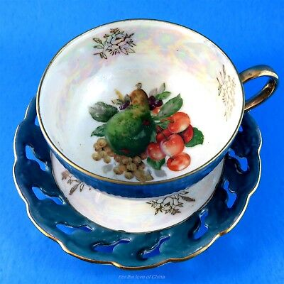 Reticulated Luster Three Footed Fruit Center Japan Tea Cup and Saucer Set