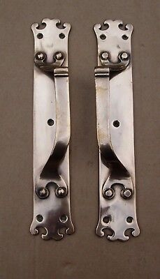 Stunning pair art nouveau arts crafts antique brass door pull handles signed jcs
