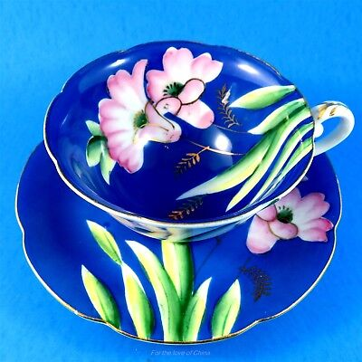 Stunning Pink Flowers on Blue Castle Japan Tea Cup and Saucer Set
