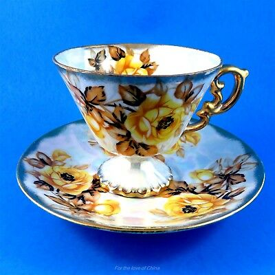 Pretty Pedestal with Yellow Roses Luster Japan Tea Cup and Saucer Set
