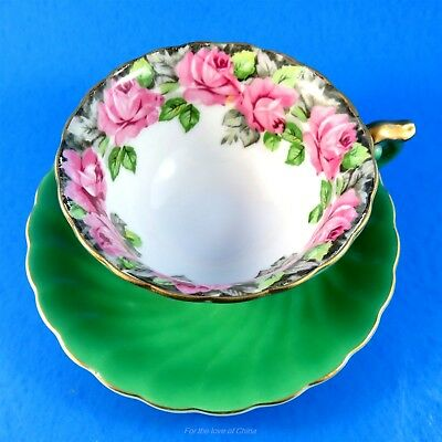 Emerald Green with Rose Border Princess China Occupied Japan Tea Cup and Saucer
