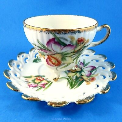Reticulated 3 Footed Daffodil Bouquet Made in Japan Tea Cup and Saucer Set