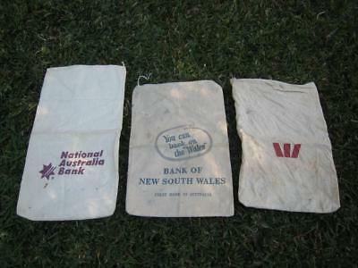 3 Calico Bank Money Bags - National - Bank Of New South Wales - Wales