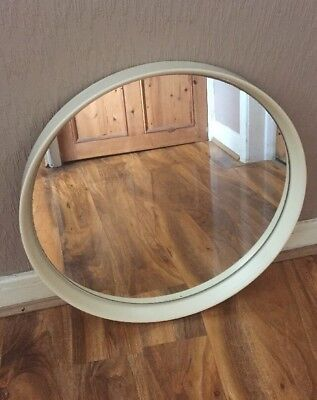 Vintage Retro Mid Century Large White Recessed Round Plastic Framed Wall Mirror