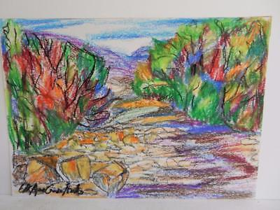 REALLY old DRAWING OIL pastel LANDSCAPE signed