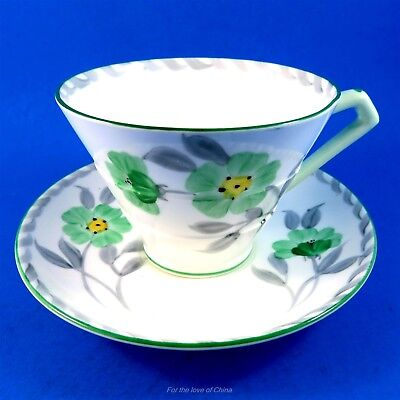 Art Deco Green Handpainted Floral Royal Paragon Tea Cup and Saucer Set