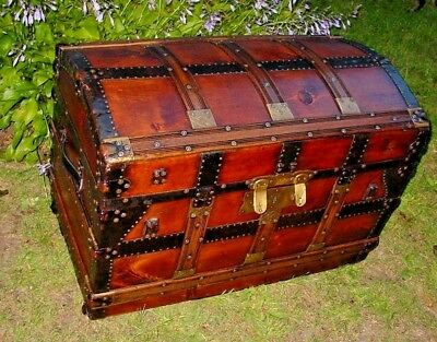 Refinished ANTIQUE STEAMER TRUNK CHEST With Lithograph Own By J F. Burke