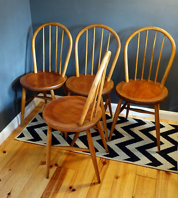 Four 4 Vintage Retro Ercol Stickback Style Dining Chairs Mid Century | Courier!