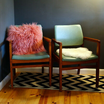 2xBeautiful Mid Century Vintage Easy Chair Teak Leather Look Upholst. | Courier!