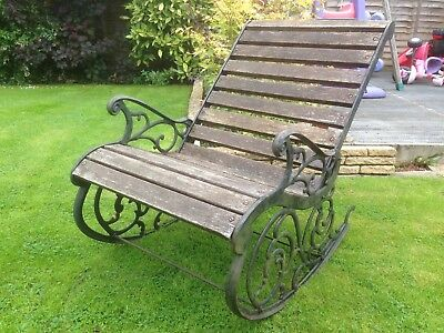 Victorian cast iron rocking chair in good condition