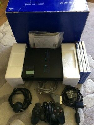 BOXED BLACK ORIGINAL PS2 CONSOLE BUNDLE WITH GAMES Sony PlayStation