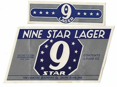 Muessel Brewing Nine Star Lager Beer label with neck IRTP U# South Bend IN