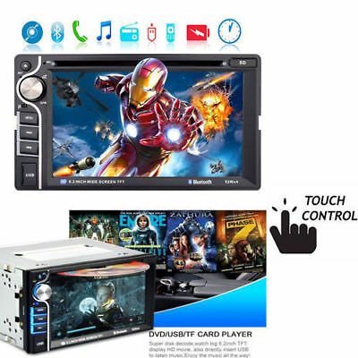 "Autoradio Car Stereo Bluetooth DVD CD MP3 Player FM USB SD AUX 6.2"" Touch 2 DIN"