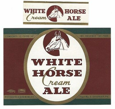 Pittsburgh Brewing White Horse Cream Ale label with neck IRTP Uniontown PA