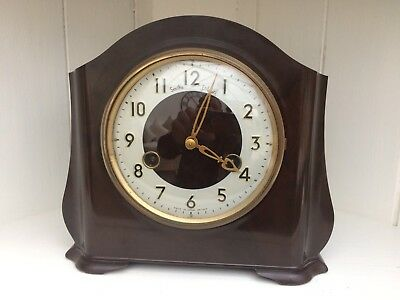 Vintage  Smiths Enfield Bakelite Art Deco  Striking Mantel Clock & Key Working
