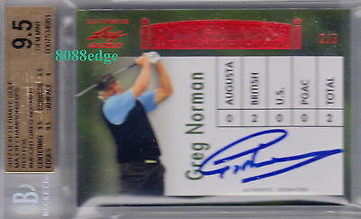 2012 Leaf Ultimate Golf Auto:greg Norman #2/5 Autograph Great White Shark Bgs9.5