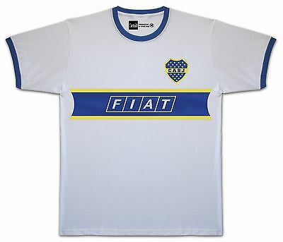 Boca Juniors 1991 Fiat No.9 Batistuta Away retro Ringer T-shirt size Medium
