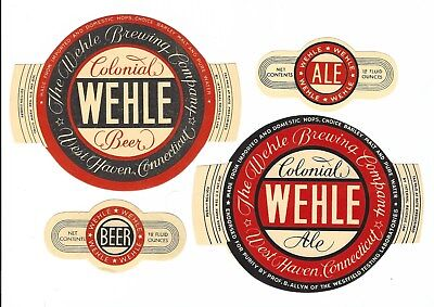 2 dif Wehle Brg Colonial Beer & Ale labels with necks IRTP's U#'s West Haven CT