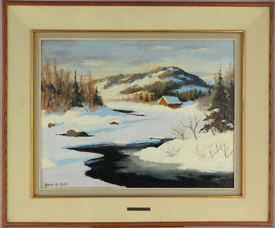 Oscar de Lall (1903-1971)RCA Canadian Vintage Oil/Canvas Quebec Winter Landscape