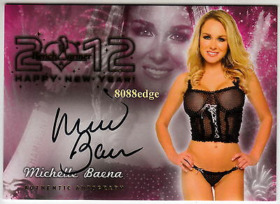 2012 Benchwarmer Happy New Year Auto: Michelle Baena - Autograph Playboy Cover