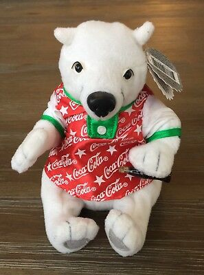 1999 Christmas Collectible Holiday Coca Cola Polar Bear Bean Bag Plush New Tags