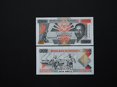TANZANIA BANKNOTES  200 SHILLINGS  -  p25  1993  Superb African Note    Mint UNC