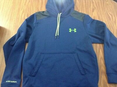 Under Armour Storm Mens Pullover Hoodie Cold Gear Blue Loose SZ Medium