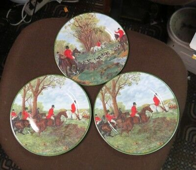 "3 St Martin Email de a la Limoges FOX HUNT  7 1/2"" PLATEs   excellent"