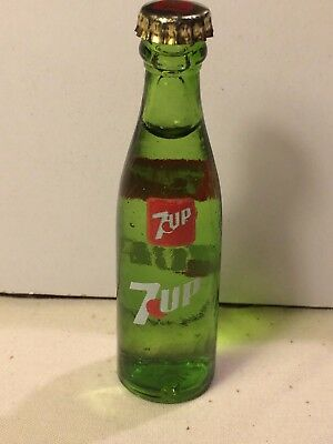 Mini Miniature 7 Up Advertising Glass Soda Bottle 3 inches tall