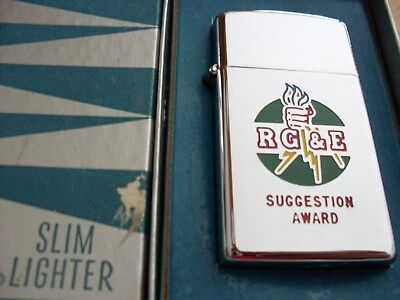"Zippo Slim Lighter "" Rg&e Suggestion Award ""    Mint-In-Box  W/papers  1958"
