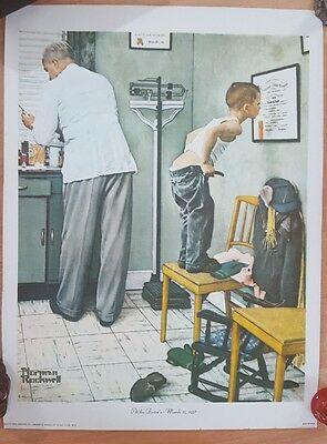 "Norman Rockwell, 13"" X 16"" (At The Doctor - March 15, 1958) On Canvas"