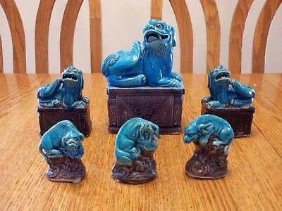 Lot Chinese Porcelain Asian Blue Kylin Foo Dog Lion Beast Statue Figure Figurine