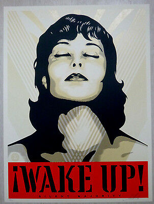 Shepard Fairey - Original Siebdruck - WAKE UP, Sign.nummeriert