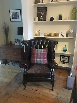 Chesterfield Wing Back Chair antiqued leather
