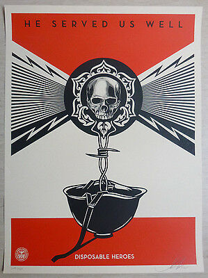 Shepard Fairey - Original Siebdruck - Disposable Heros, Signiert,nummeriert