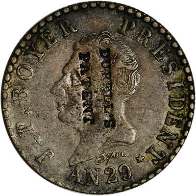 (1832) AN29 Haiti Silver 50 Centimes Counterstamped Durell's Patent - XF