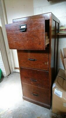 Solid Wood 4 Drawer Filing Cabinet, Very Old.