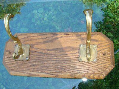Pair of Vintage Brass Coat Hat Hooks Mounted on Solid Oak Octagonal Plaque # 1
