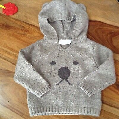 baby boys The little white company wool jumper age 3-6 months