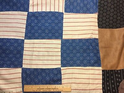 """Antique 1880s Cotton Fabric 82 Rectangles Cadet Blue Shirtings Mourning 35""""x 64"""""""